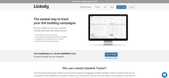 Screenshot of Linkody home page.