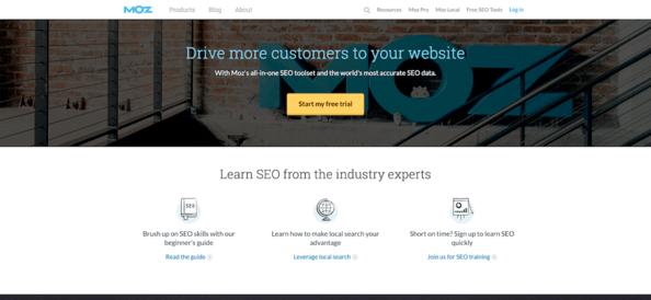 Screenshot of Moz home page.