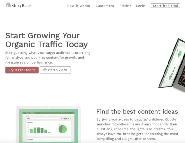 StoryBase home page screenshot.